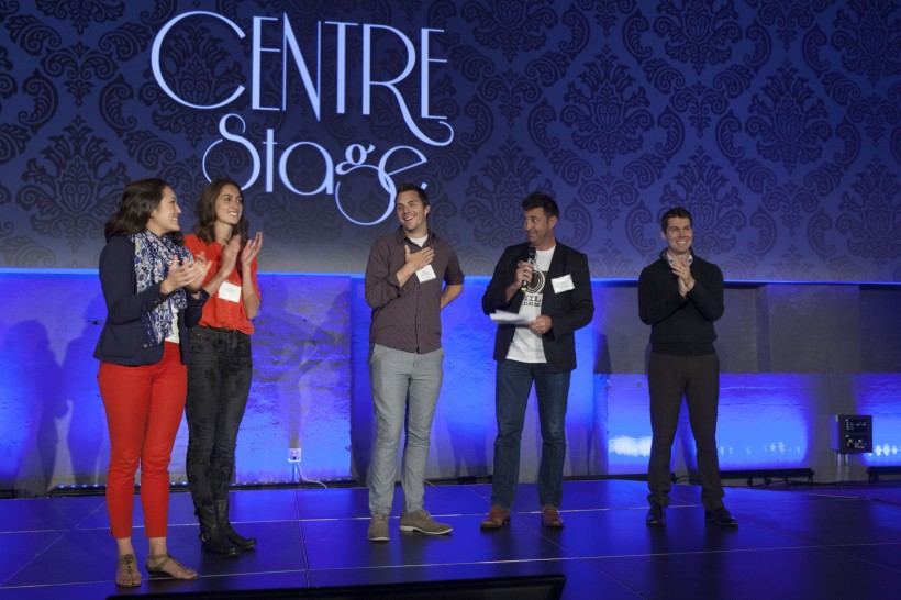 The winners take the stage at Centre Stage in September. (Photo: Communitech/Meghan Kreller)