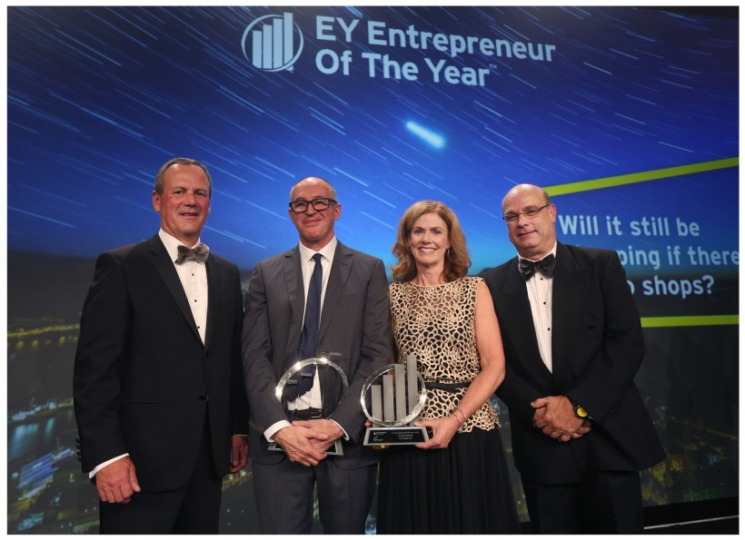 Michael Donovan, second from left, with EY's Jim Lutz, left, Colleen McMorrow and Derek Purchase