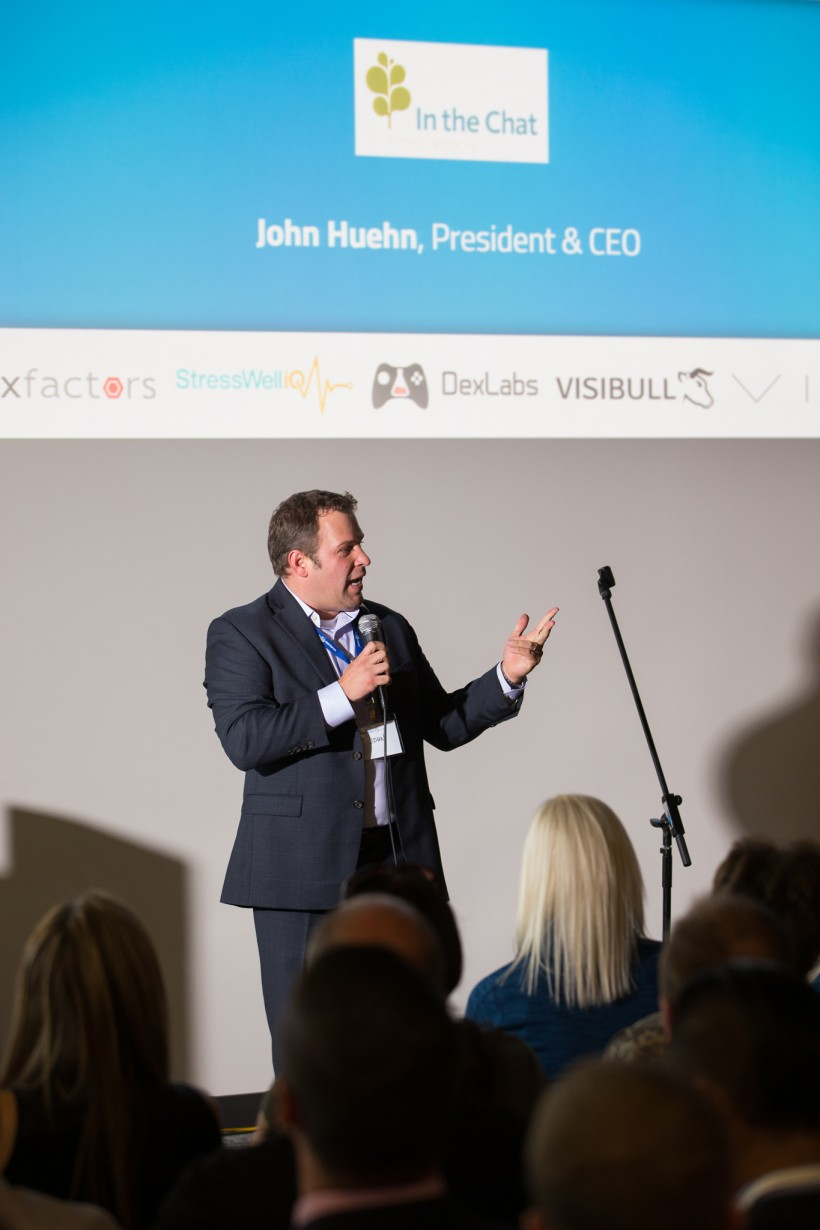John Huehn, CEO of In The Chat, presenting at the Client Showcase. (Photo by Wayne Simpson)