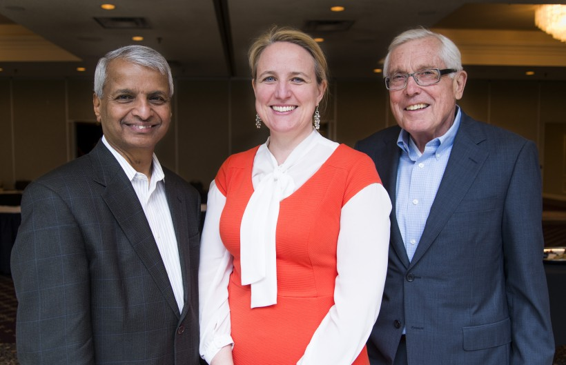 Desh Deshpande, left, Karina LeBlanc and Gerry Pond